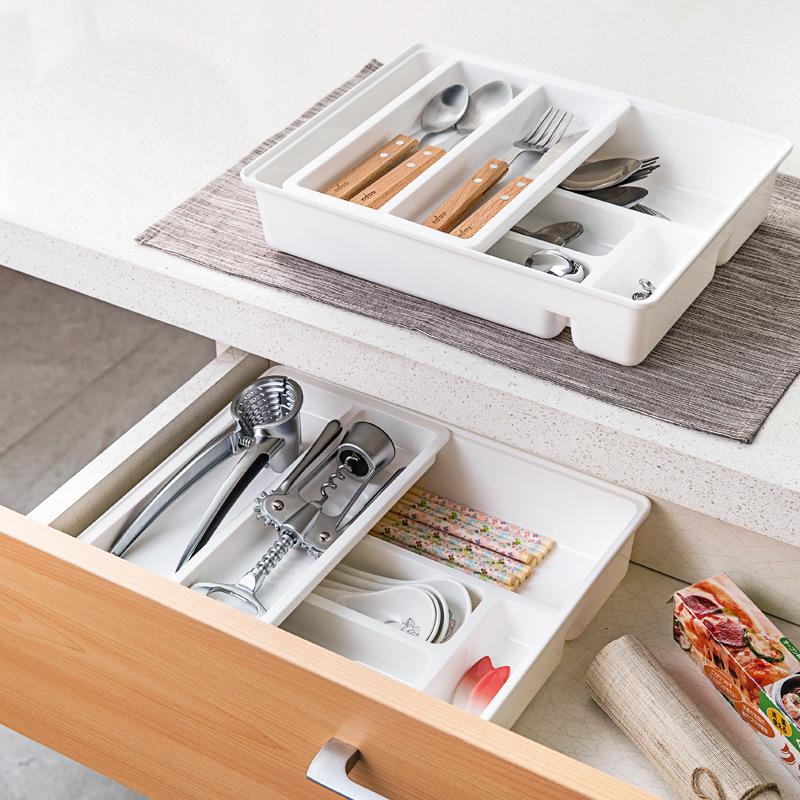 韩国进口桌面抽屉收纳盒塑料厨房餐具整理盒橱柜筷子盒