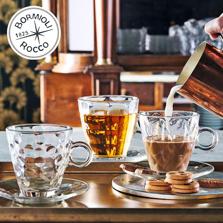 意大利进口波米欧利热饮把杯钢化玻璃咖啡杯