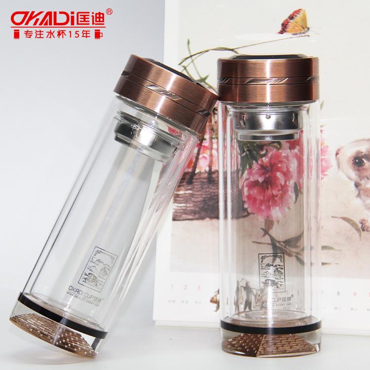 匡迪新款KD-0345双层隔热防烫髙硼硅水晶玻璃杯子