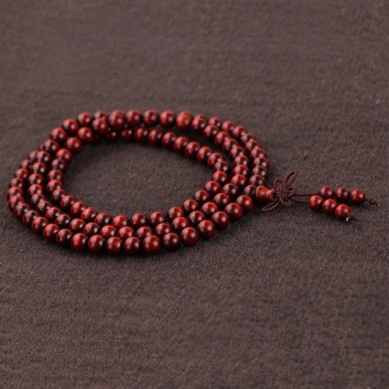 印度小叶紫檀高密高油佛珠手链 108颗鸡血红玻璃底紫檀手串