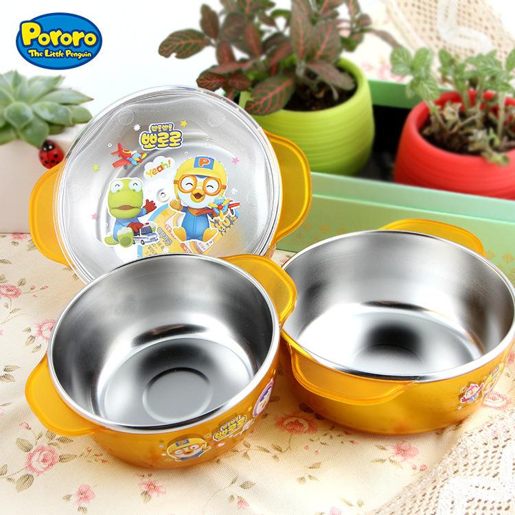 韩国乐百特pororo啵乐乐儿童不锈钢双耳碗双层隔热防滑防烫餐具