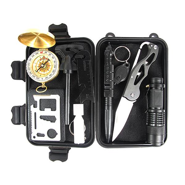 户外装备加强求生宝盒生存工具套装多功能野外急救盒SOS应急用品