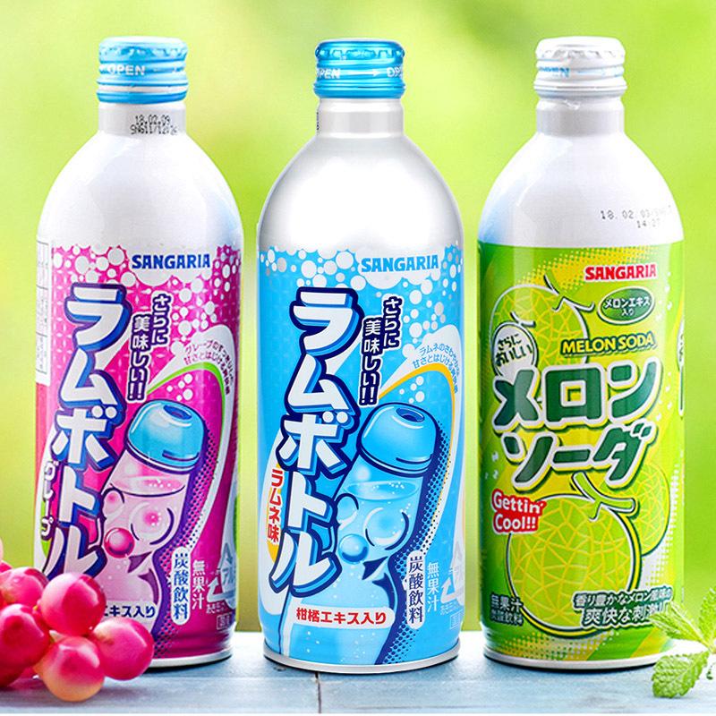 日本进口sangaria新加利亚三佳利波子汽水500ml 饮料铝罐