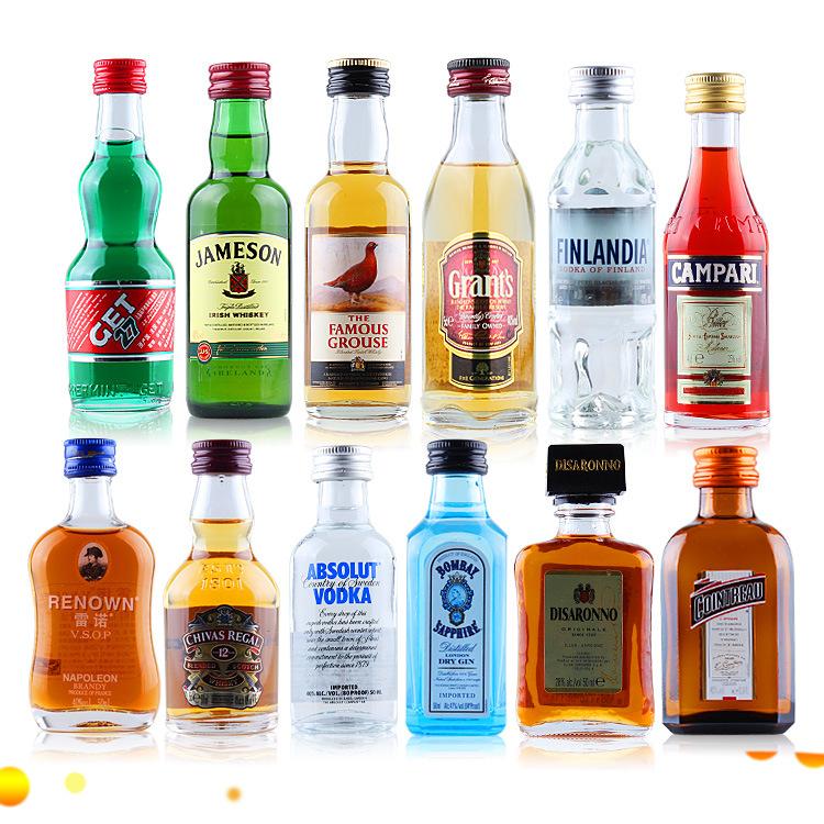 进口洋酒12瓶*50ml玻璃瓶酒版利口酒基酒套装鸡尾酒原装正品