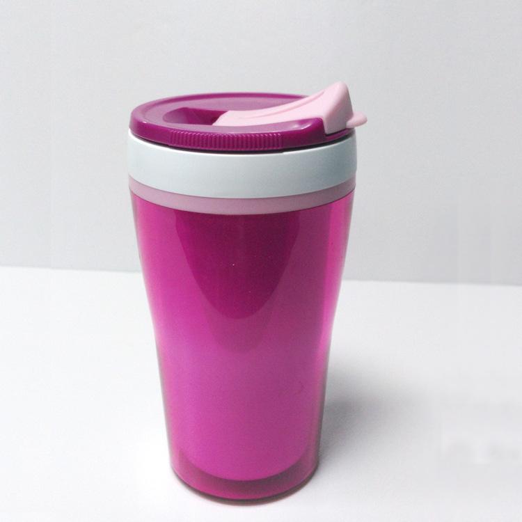 日本进口双层真空塑料防烫隔热水杯保温杯日用百货带盖运动车载杯