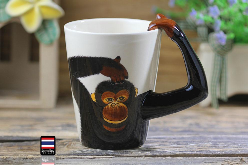 泰国手绘动物马克杯大号猩猩陶瓷杯 咖啡杯 卡通杯 杯子