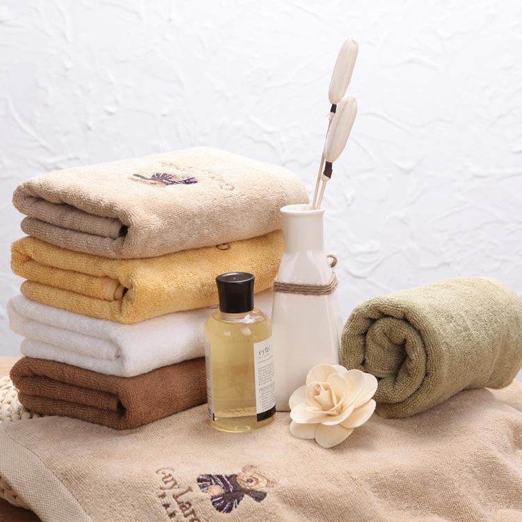 韩国进口刺绣毛巾 素色纯棉卡通面巾加厚140克
