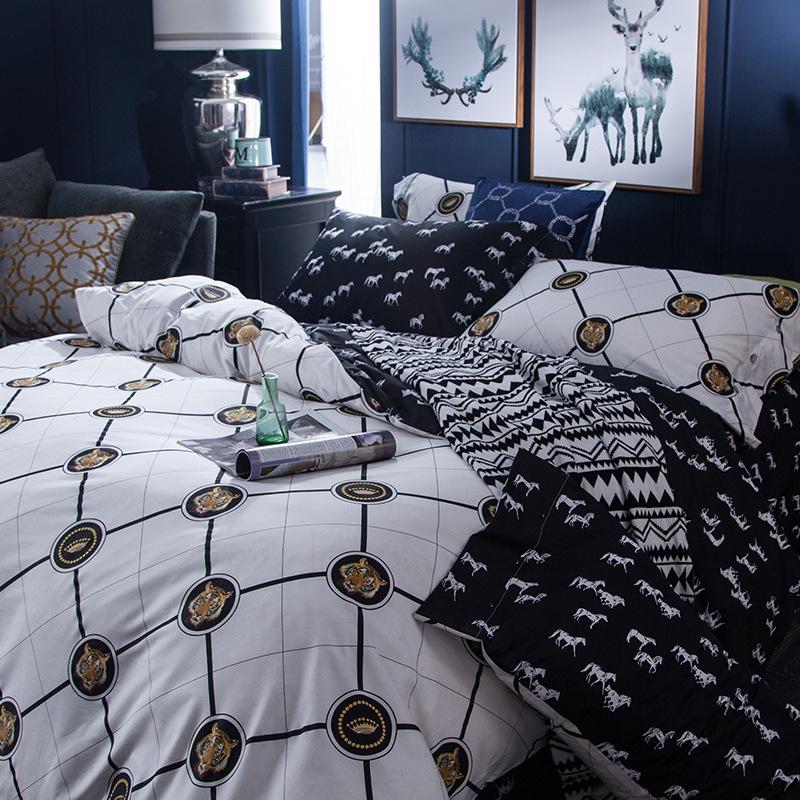 新款欧美时尚全棉四件套 纯棉床单被套双人家纺床品套件