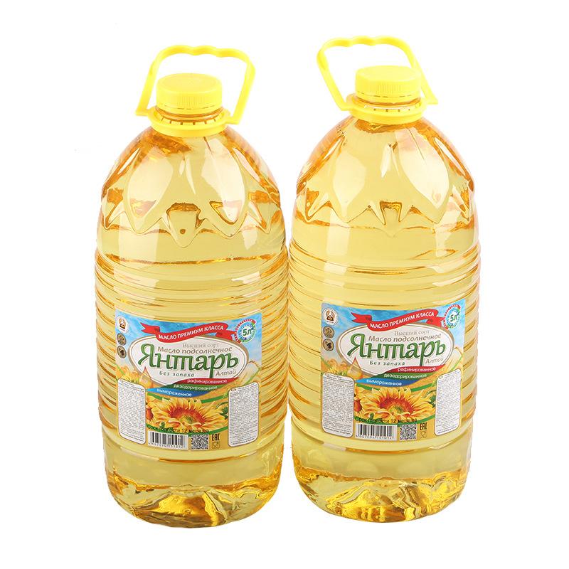 俄罗斯进口维生素精炼琥珀葵花籽油食用油居家礼品5L