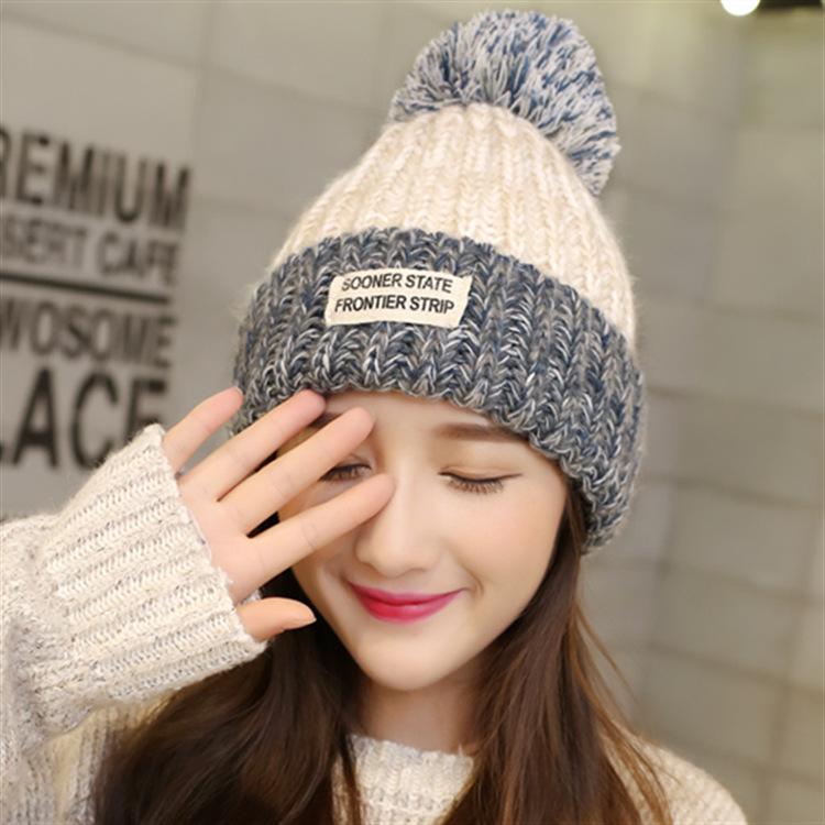 秋冬新款布标女士针织帽 韩版可爱混色保暖帽子毛线帽