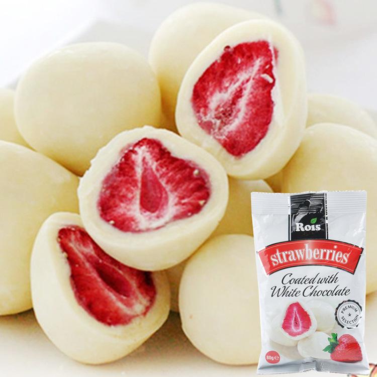 保加利亚进口巧克力甜瑞丝芯ROIS草莓酸奶夹心白巧克力休闲零食