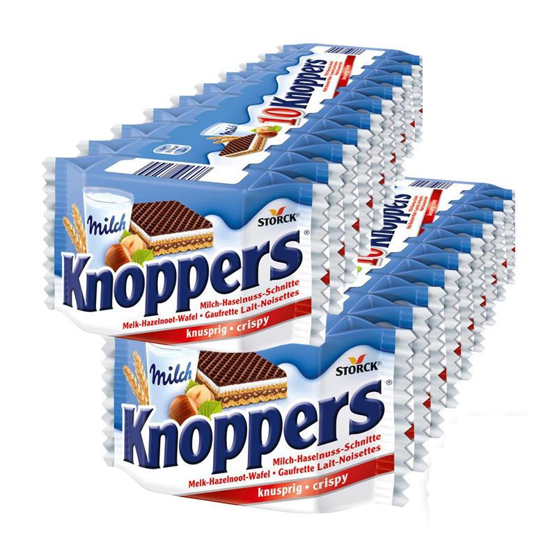 德国进口knoppers澳洲零食品牛奶榛子巧克力威化夹心饼干250g