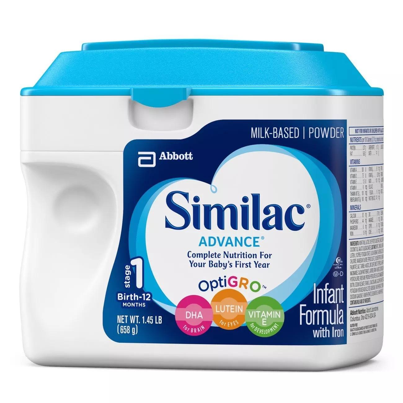 美国美版雅培Similac婴幼儿配方奶粉1段一段658g
