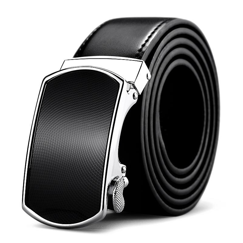 黑色男士自动扣头层小牛牛皮腰带 专柜礼盒包装真皮腰带POLO040P