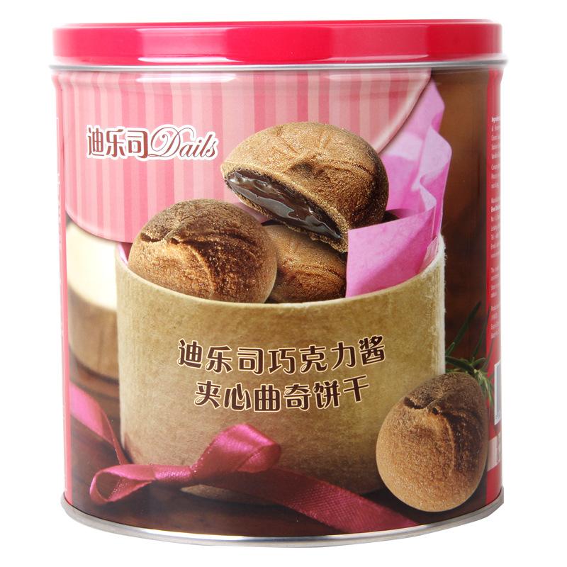 进口休闲零食品 马来西亚迪乐司巧克力味曲奇饼干6*100g