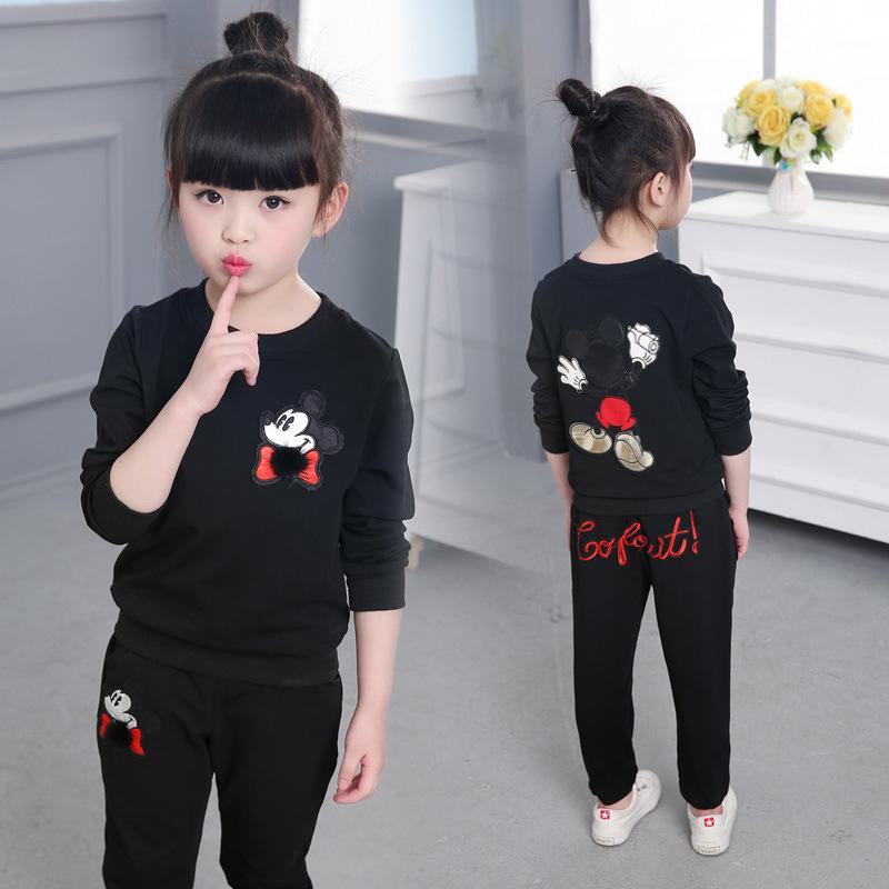2018春季新款童装中大童春款韩版女童套装儿童卡通服装小孩运动衣
