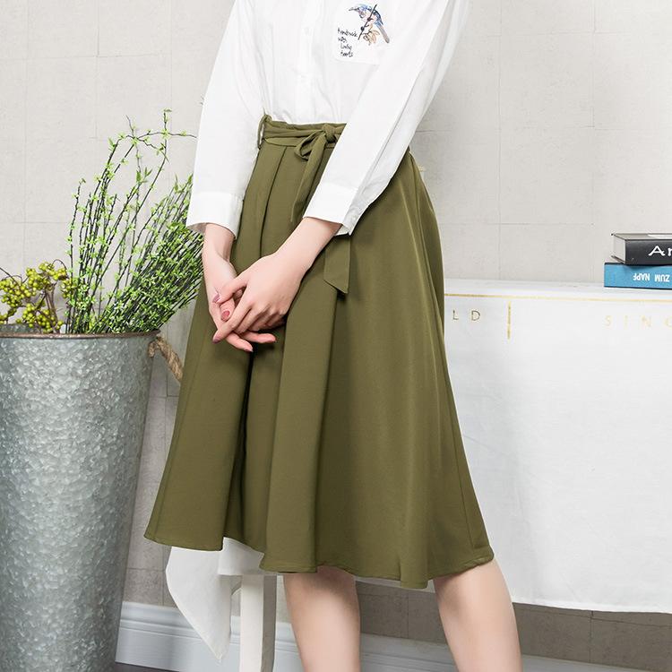 【韩玫玫】新款2018女特色蝴蝶结绿色中长松紧腰裙