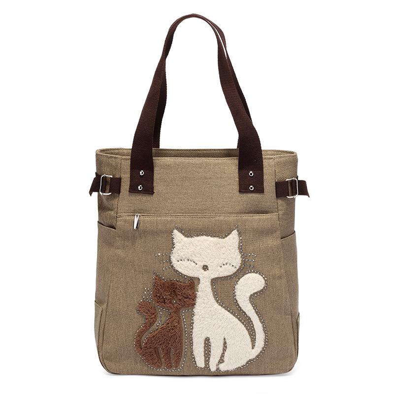 高高路绒钻猫咪女包帆布包手提包购物大单肩包妈咪包
