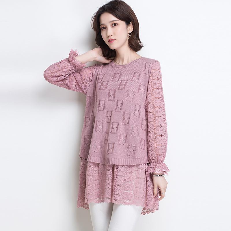 2018春秋新款韩版蕾丝拼接女式针织衫荷叶袖口打底衫圆领气质上衣