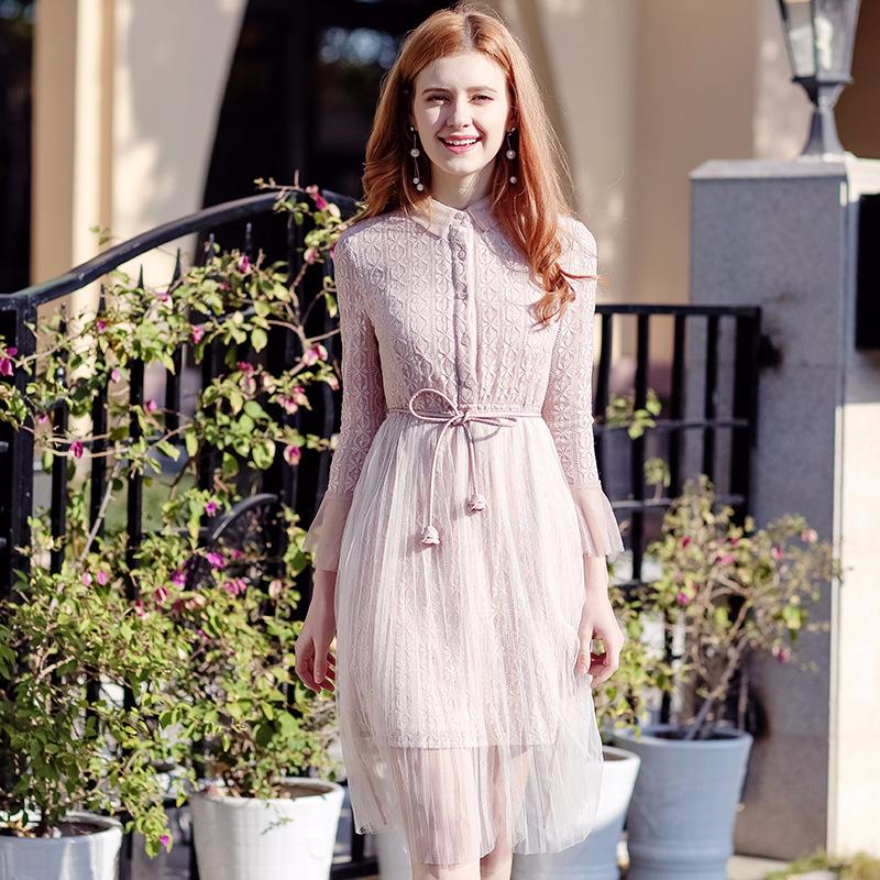 2018春季新款品牌女装粉色网纱打底裙气质淑女蕾丝连衣裙