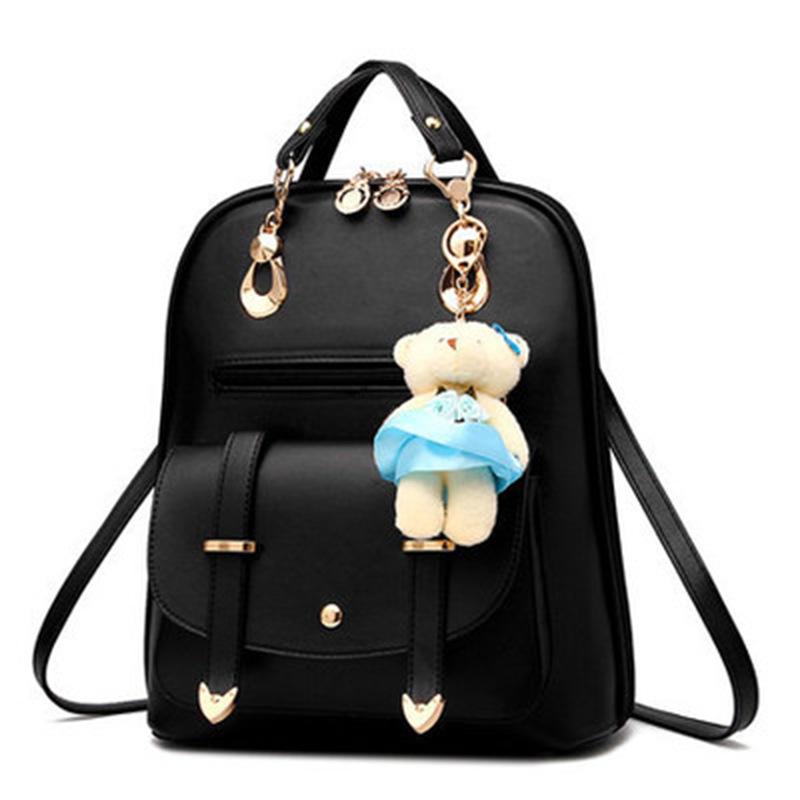 女包新款韩版潮时尚女士pu皮双肩包学生休闲背包学院风挂小熊包包