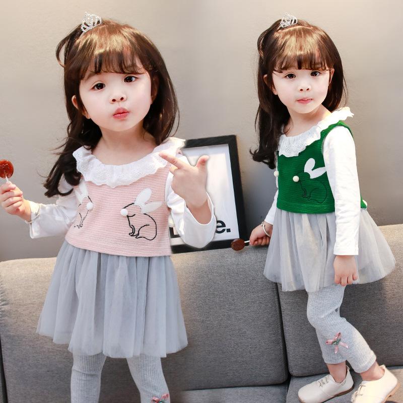 2018春季女童套装童装纱裙宝宝套装韩版童装纯棉儿童套装