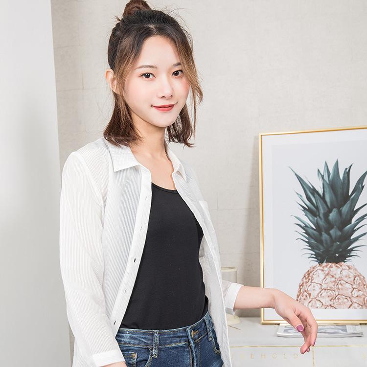 【韩玫玫】韩版2018特色长款竖条纹春夏装清凉防晒衣