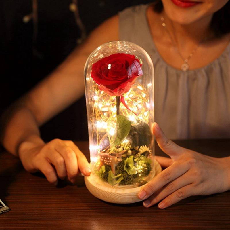 永生花发光玻璃罩三八节创意礼品生日礼物保鲜玫瑰花礼盒