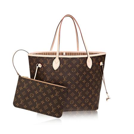 全球购 路易威登LV女包 NEVERFULL经典手袋 中号经典老花图案
