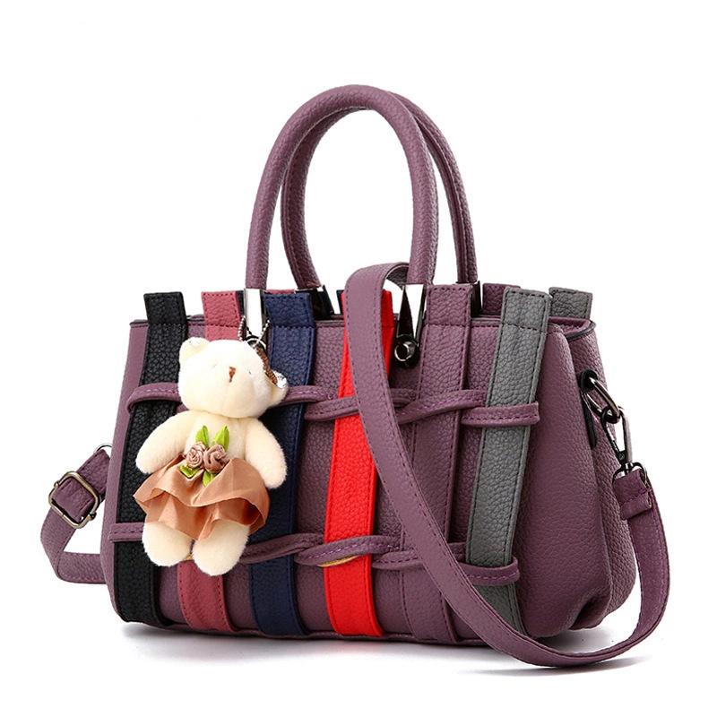 女包新款时尚潮流女士手提包撞色编织挂小熊单肩斜挎包