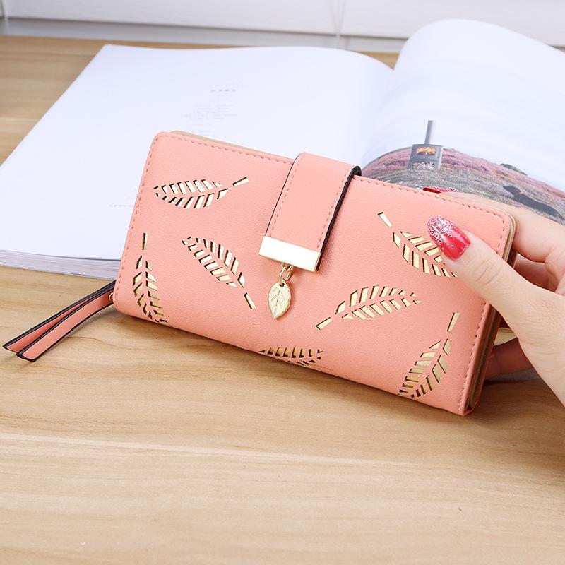 时尚新款女士长款二折镂空叶子钱包学生钱夹手拿包手机包卡包