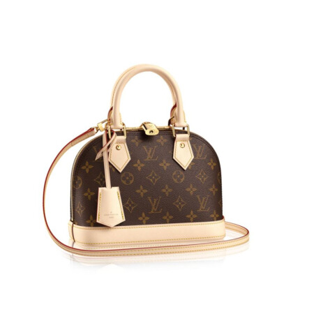 全球购路易威登(LV)女士手提包挂锁双拉链牛皮革饰边Monogram 帆布