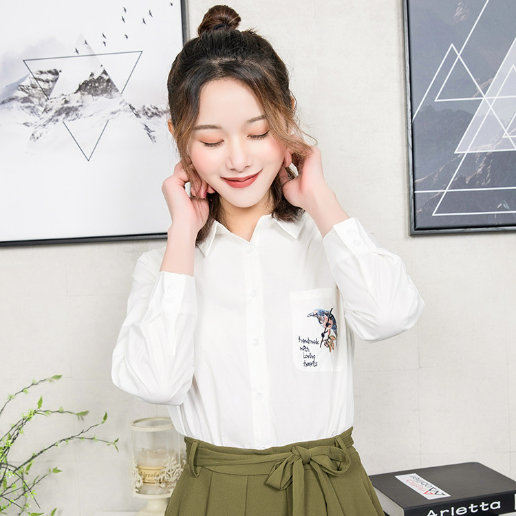【韩玫玫】韩版2018新装春夏衬衣刺绣口袋棉麻上衣