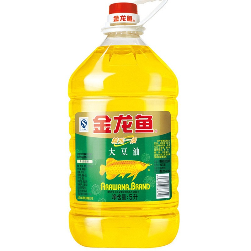 店内新品食用油 金龙鱼精炼一级大豆油桶装5升豆油5L