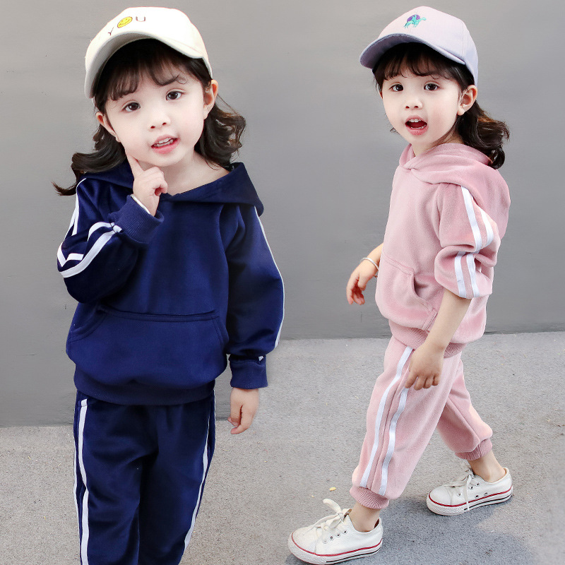 童装儿童春秋款两件套金丝绒套装1-5岁宝宝2018新款春装