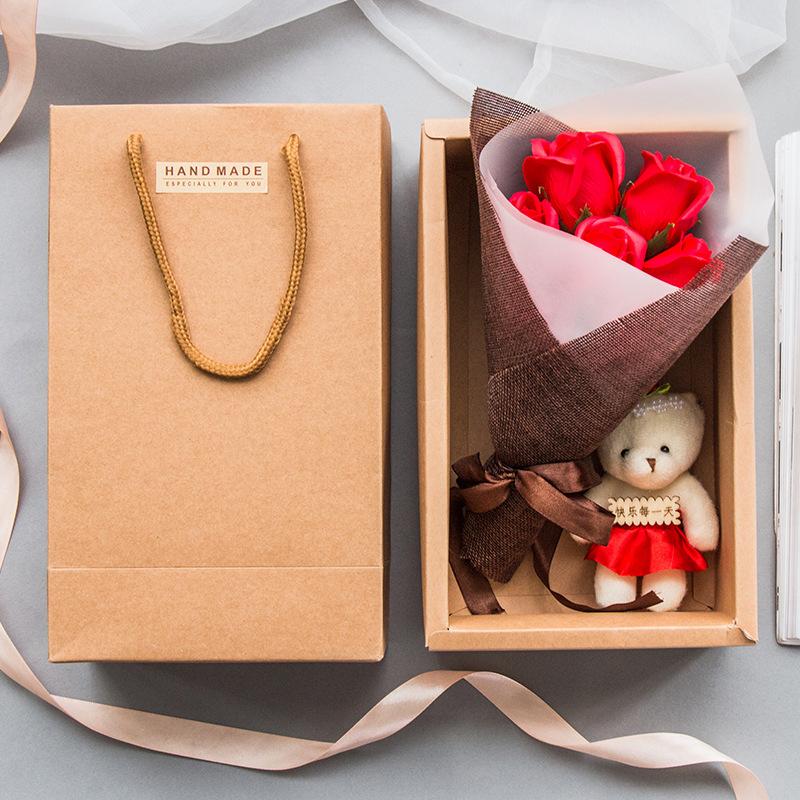 三八节礼品创意7朵玫瑰香皂花束礼盒送员工永生花生日礼物小熊