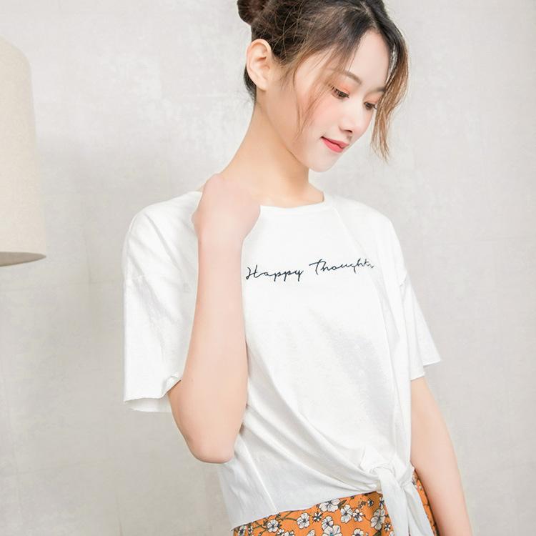 【韩玫玫】韩版2018女绑带字母清凉简约T恤百搭上衣