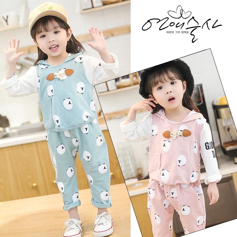 女童套装2018春季童装韩版儿童卡通可爱牛角扣宝宝三件套