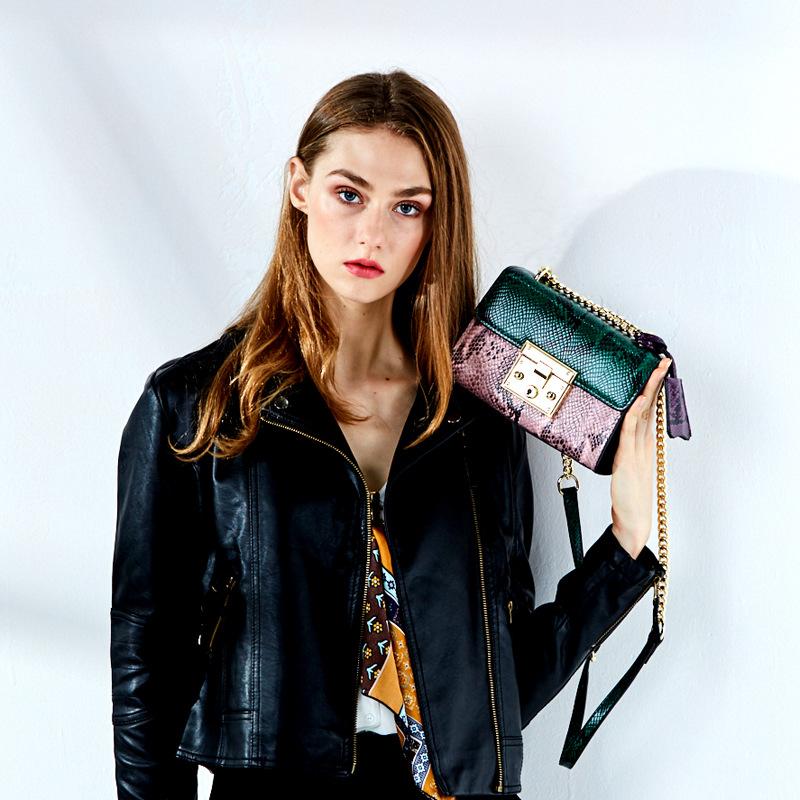包包女蛇纹牛皮2017新款真皮链条包时尚单肩斜挎包女包
