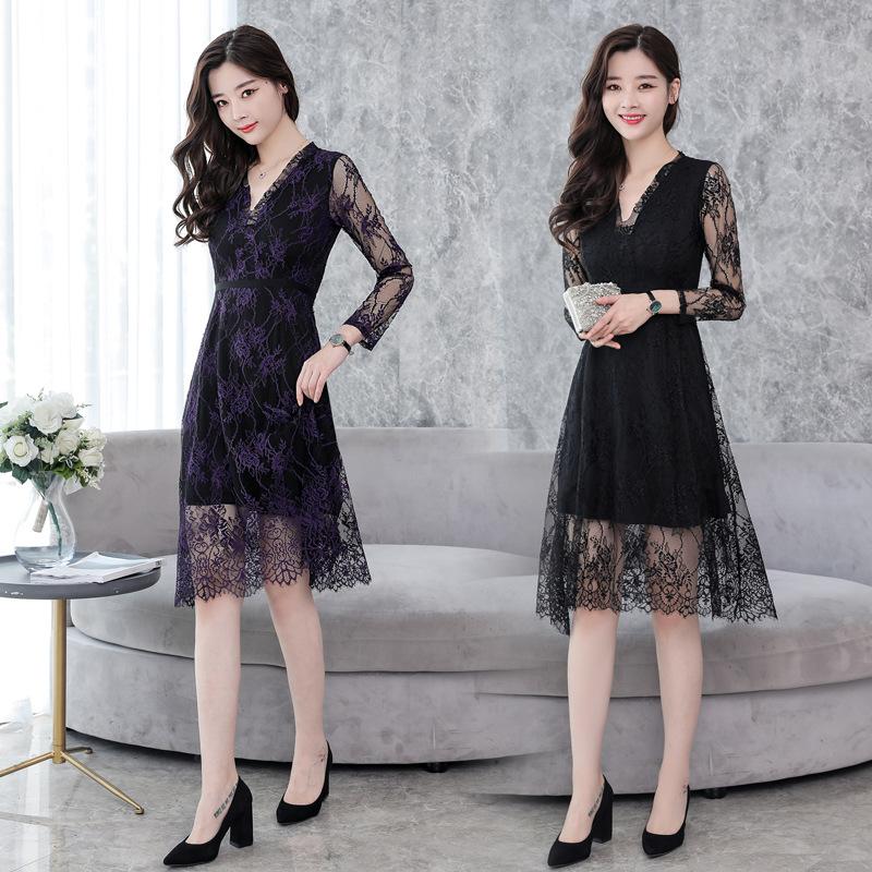 亚马逊2018春季新款韩版女装气质V领蕾丝连衣裙中长款长袖a字裙子