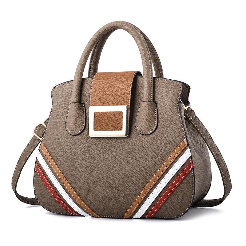 跨境包包2018新款时尚女士搭扣手提包韩版百搭撞色单肩斜挎包