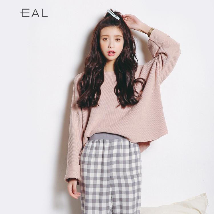 春夏新款针织衫韩国打底衫女 毛衣纯色针织衫喇叭袖宽松毛衣