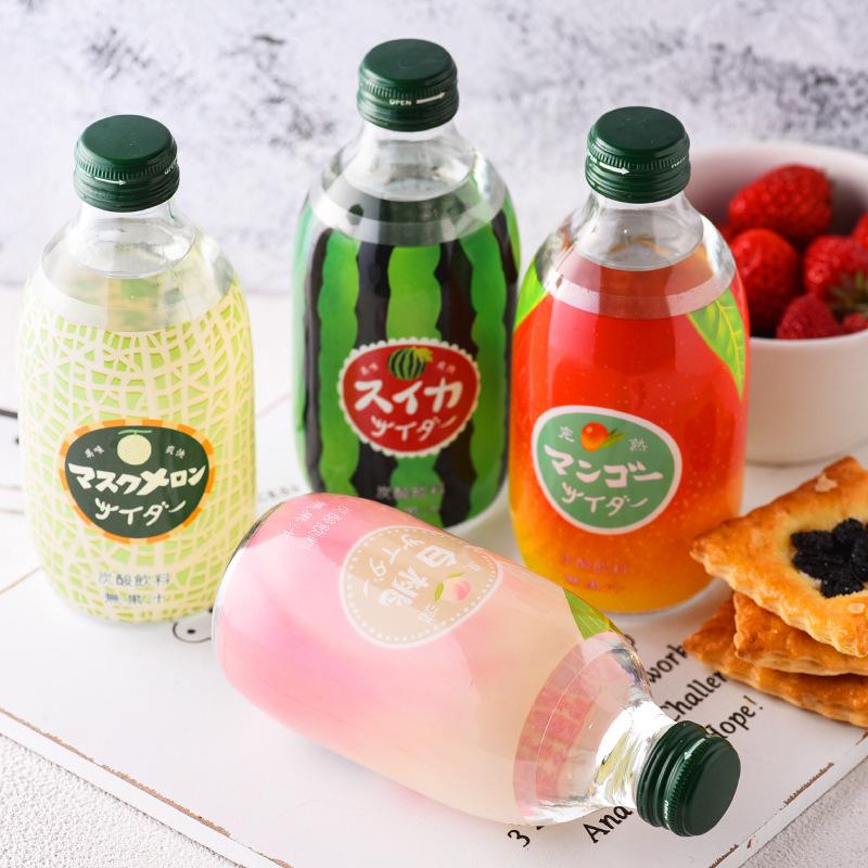 日本进口 友升白桃味/西瓜味碳酸饮料汽水300ml 友桝饮料