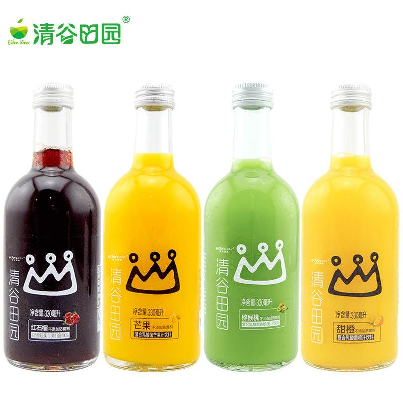 清谷田园芒果汁饮料玻璃瓶 夏季复合乳酸菌饮品330ml整箱12瓶装