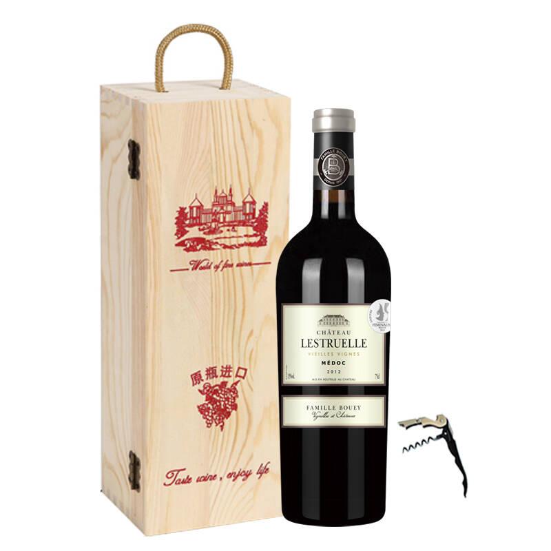 【整箱购减100】波尔多AOC原装进口红酒宝悦世家2012里斯特城堡干红 单支 750ml木箱装
