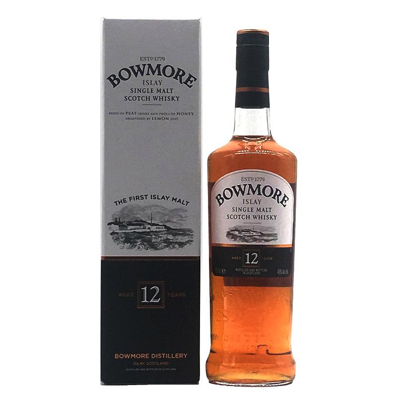 洋酒 波摩12年艾莱纯麦单一麦芽威士忌 Bowmore12年 700ml 烈酒